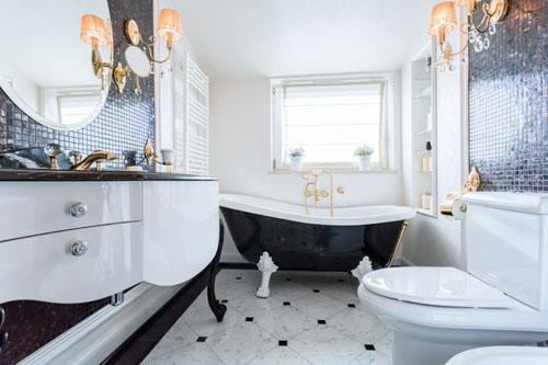 Black and white bathroom - Styl Glamour Wn Trza Luksus Blask I Kontrasty Style Aran Acji